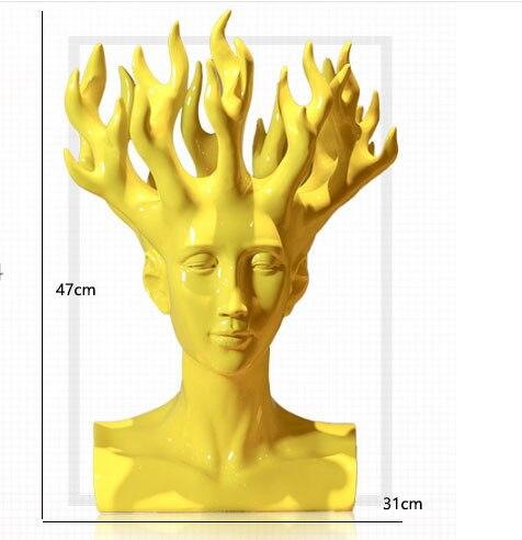 2018 Nouveau Design Créatif À La Main Résine Humaine Tête Fleur Vase Décoration De La Maison Moderne Ornements De Forme Unique Pot De Fleur Coloré