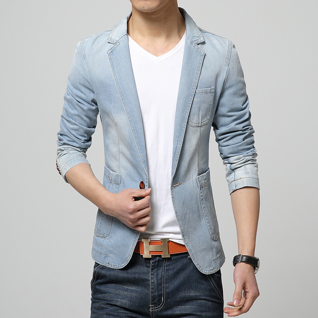 1fcb7c74950 2016 New Autumn Men s Washed Denim Blazers Jacket Plus Size M~3XL Jeans Coat  Slim