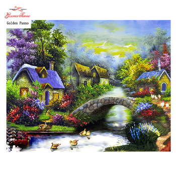 Golden Panno,Needlework,DIY DMC 14CT Cross stitch Kit,Village Counted Pattern Embroidery Cross-stitch Painting 0119