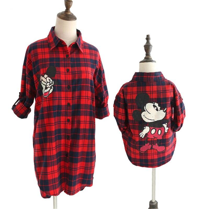Chemise automne-été à carreaux manches longues | Vêtements assortis pour mère et fille, avec un Look de famille, imprimé, avec Mouse