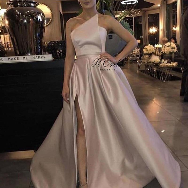 PEORCHID Elegant A Line   Prom     Dresses   With Slit Spring 2019 Floor Length Vestidos Largos De Graduacion Satin Evening Formal Gowns