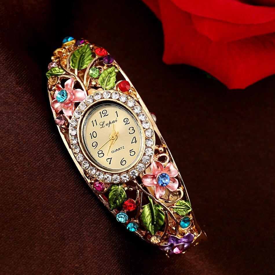 LVPAI Flower Wristwatch Women Dress Clock Classic Gold Red Fashion Casual Jewelry Watch New Watch Women Crystal Bracelet 533