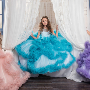 Image 5 - Aibaowedding Fancy Puffy Pink Pageant Dresses for Girls Long Kids Ball Gowns Vestido de Tulle Flower Girl Dresses for Wedding