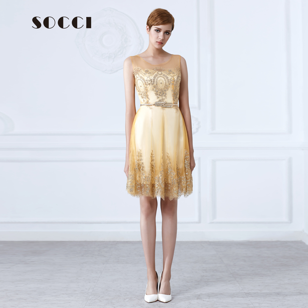 Socci new tulle lace gold cocktail dress short mother of for Formal wedding dresses for mother of the bride