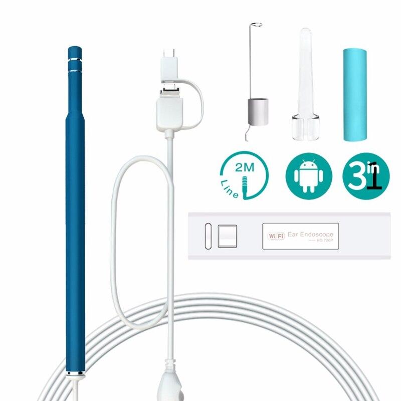 Endoskope 5,5mm Ohr Reinigung Earpick Endoskop Ohrenschmalz Sauber Werkzeug Kamera Visuelle Ohr Löffel Werkzeuge Otoskop Für Ios Android Mit 6led