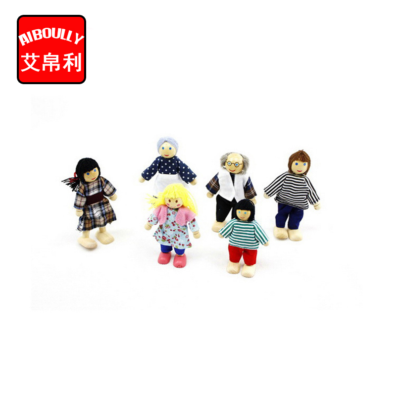 Happy Dollhouse Family Dolls Small Wooden Toy Set Figures Dressed Characters Children Kids Playing Doll Gift Kids Pretend Toys t3184b educational toy coin slide chip game toy playing toy set