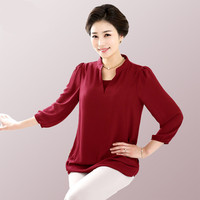 2017 New 5xl 6xl Lady 3 4 Sleeve Loose Chiffon Blouse Big Size Tops For Female