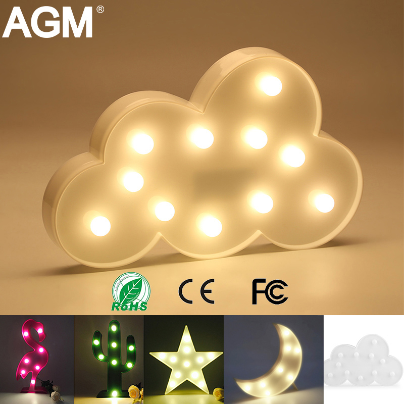 AGM LED Night Light Moon Cloud Light 3D Lamp Novelty Luminaria Flamingo Cactus Star Nightlight Marquee Letter For Children Decor free shipping 1 piece multi color usb charge pharaoh cobra 3d snake led light with 3d luminaria night lamp for hallowmas gadget