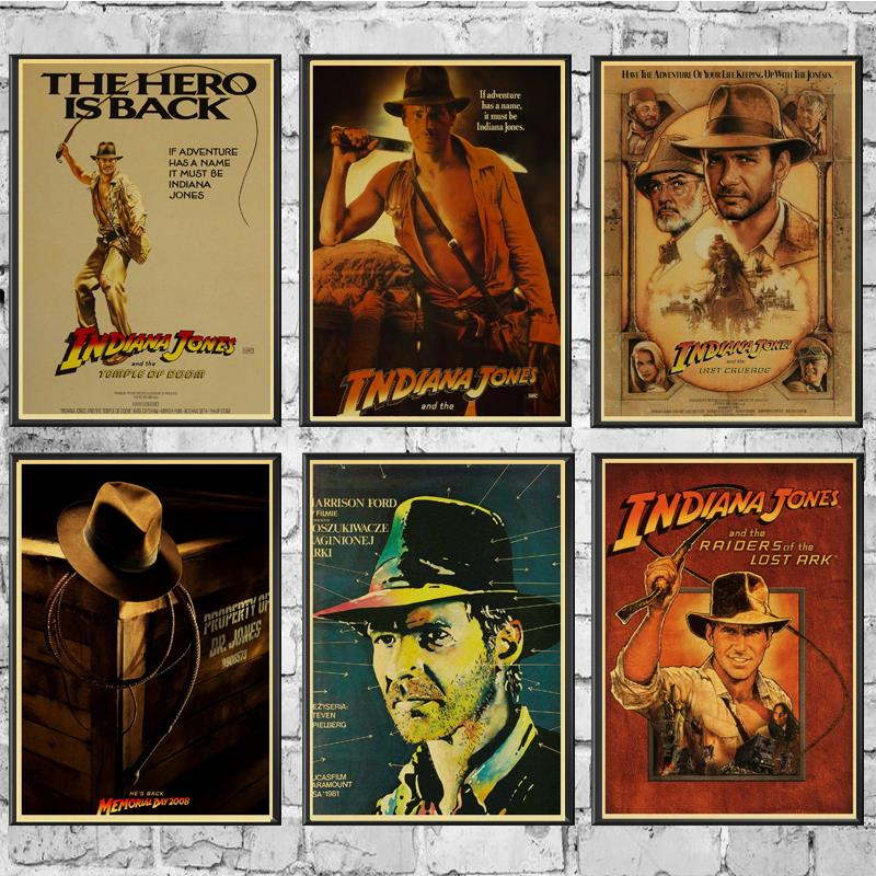 Vintage Classic Movie Indiana Jones Poster Good Quality Painting Retro Poster Kraft Paper For Home Bar Wall Decor/Stickers