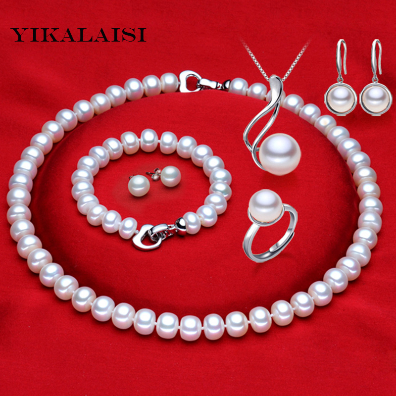 YIKALAISI 2017 100% natural Freshwater Pearl necklace jewelry sets 925 sterling silver jewelry pearl for women weddings gift yikalaisi 2017 natural freshwater pearl necklace sets pendant drop earrings 925 sterling silver jewelry for women best gifts