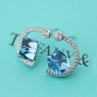 Belice's new Korean version, simple square, crystal like ear hook, fashionable women's ear studs 1301729A