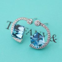 Belice's new Korean version, simple square, crystal like ear hook, fashionable women's ear studs 1301729A