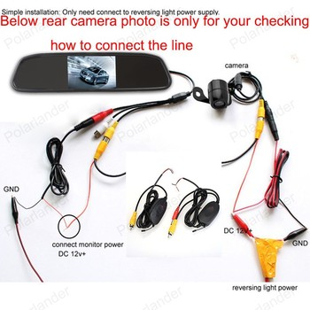 reverse parking camera + 4.3 inch tft lcd Rearview Mirror Monitor kit for Car Rear reversing backup for parking reversing