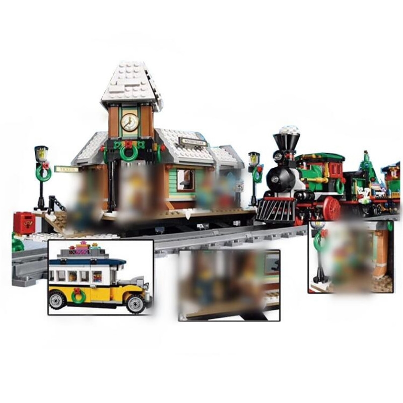 36011 36001 Creative the Winter Village Station Set model Building Blocks Bricks Educational Toys Gifts 10259 christmas dhl lepin 36001 winter holiday train 36011 winter village train educational building blocks toys gifts clone with 10254 10259