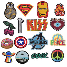 New Peace Cherry Kiss PIKACHU Zipper Avengers Patches Embroidered AppliqueIron On Badge Clothes Garment Apparel Accessories