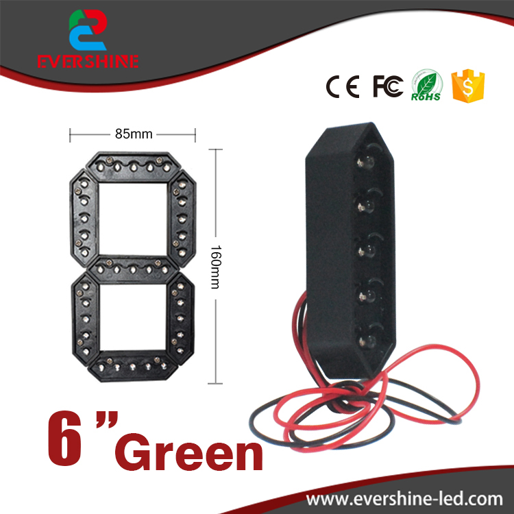6 Green Color 7 Seven Segment LED Number Module Gas Price LED Display Signs Diesel Price Digital Module LED Outdoor 100 pcs ld 3361ag 3 digit 0 36 green 7 segment led display common cathode