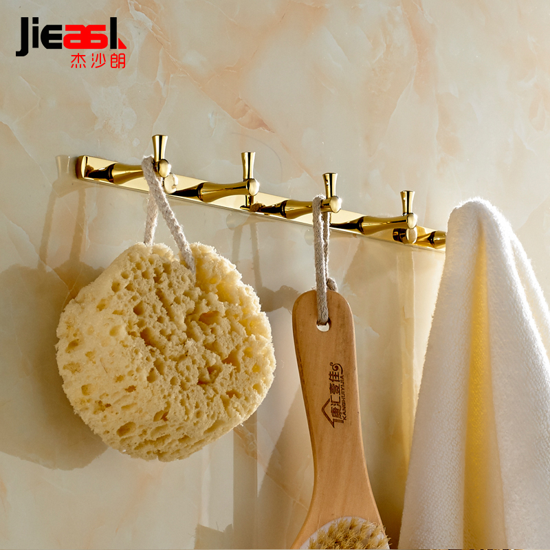Full Copper Wall Hook for Bathroom Gold Coat Hooks Wall Hanger Metal Europe Robe 5 Towel Hooks Bathroom Accessories Clothes Hook цена