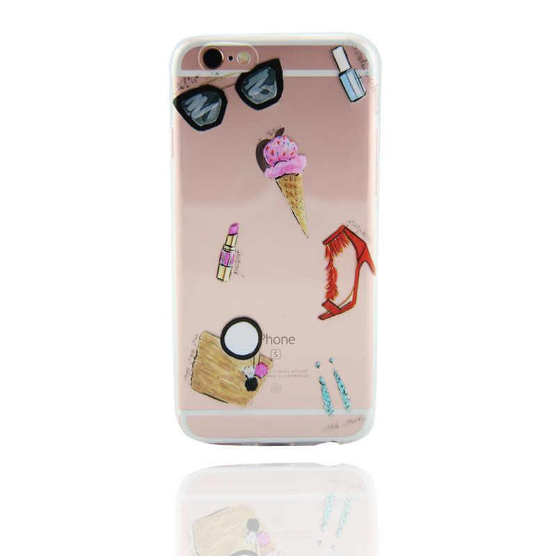 Para Iphone 6 6 s 5 5S Se 7 7 plus 8 Plus mujeres rojo zapatos de tacón alto diseño teléfono funda de silicona transparente para teléfono