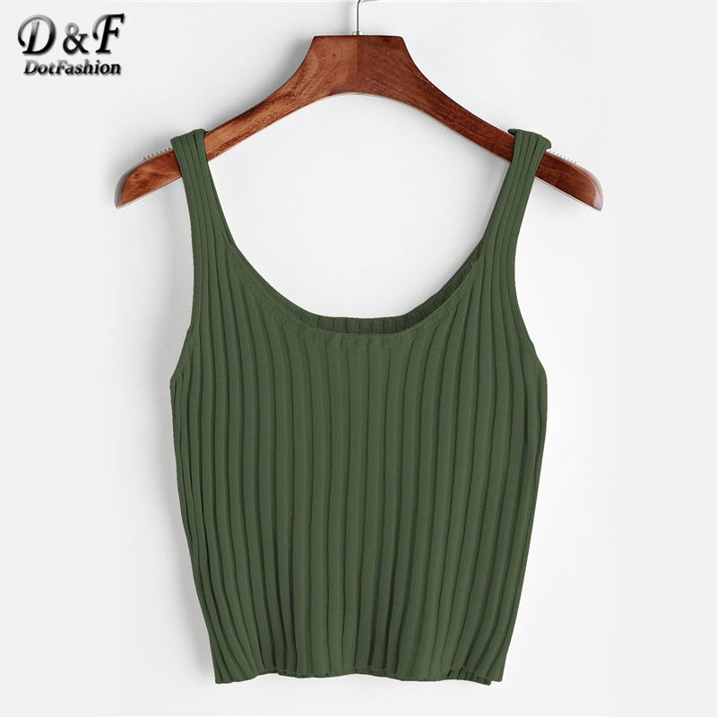 Dotfashion Ribbed Knit Crop   Tank     Top   Womens 2019 Summer New Casual   Tank     Tops   Clothing Scoop Neck Slim Fit Streetwear Vest