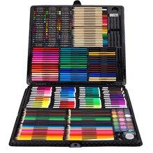 258 pcs 드로잉 세트 어린이 그림 미술 세트 키트 크레용 컬러 연필 수채화 학교 미술 용품 그리기위한 페인트 브러시