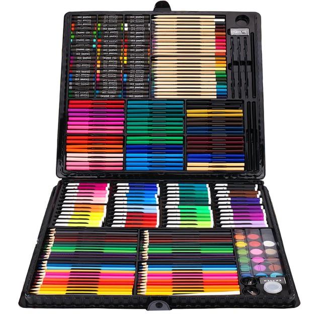 Juego de 258 piezas de dibujo para niños, juego de pinturas, juego de lápices de colores, lápices, acuarela, arte escolar, pinceles para dibujar