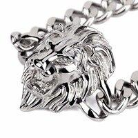 Vrouwen mens titanium staal leeuwenkop koning armband charme sieraden geschenken goud verzilverd persoonlijkheid keten bling bling vintage