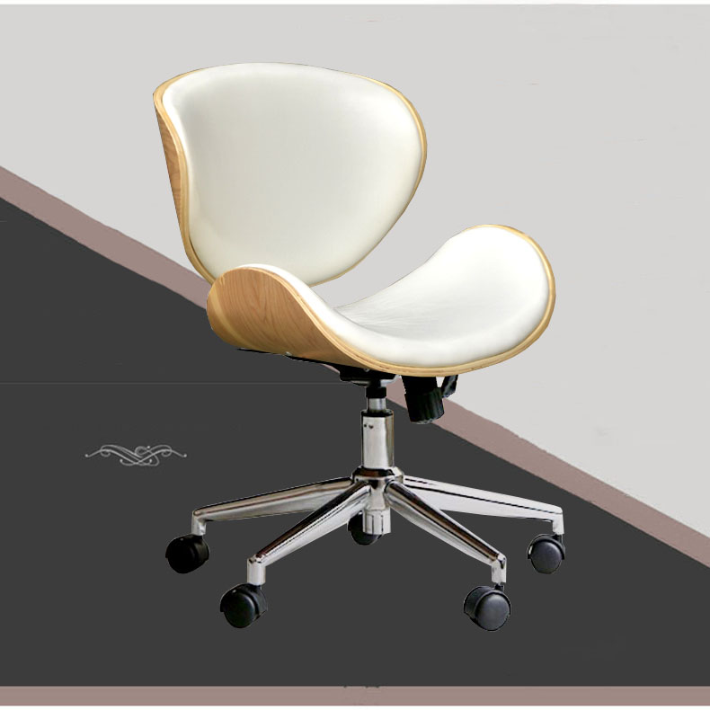 Mid Back Swivel Executive Wood Office Desk Chairs With Caster Wheels White Leather Seat Modern Ergonomic