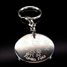 Family Stainless Steel Cartoon Mama Girl Keychain Cute Kid Keyrings For Women Girls Key Holder Jewelry porta chaves K6886