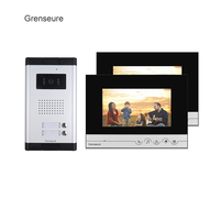 Free Shipping Apartment Intercom 7 LCD Screen Video Door Phone Intercom System 2 Monitors For 2
