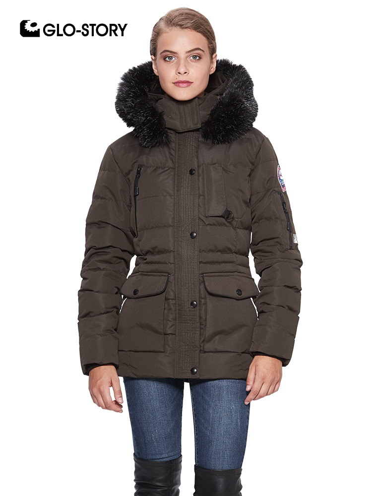 GLO-STORY European High Quality Winter Snow   Parkas   Women Mid Long Pleated Waist Fleece Liner Thick Jackets Coats with Fur Hooded