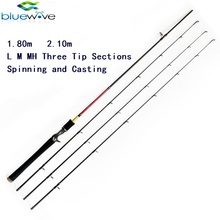 Carbon Material L/M/MH actions 3 Tip Section Spinning annd Casting Fishing Rod.