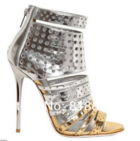 81ac85417b Metallic Leather Sexy Unique Designer Cut Out Open Toe High Heels Ankle  Wrap Open Toe Sexy
