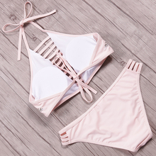 Women Bikini Push Up High Neck Embroidery Flower