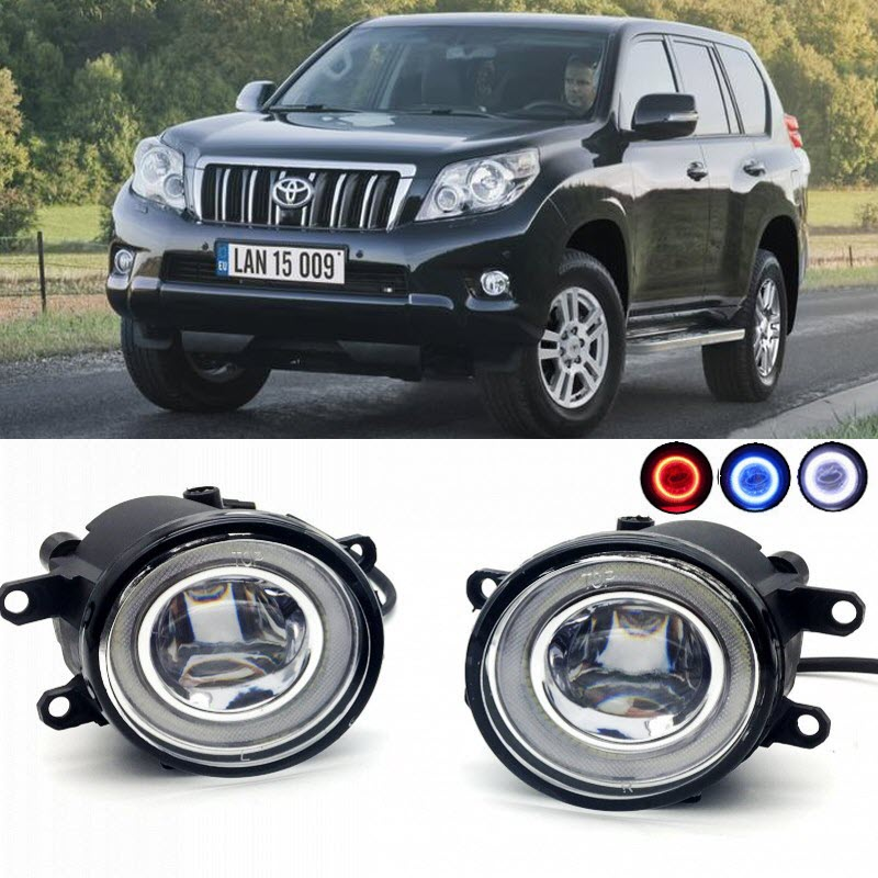 2 in 1 LED Cut-Line Lens Fog Lights Lamp 3 Colors Angel Eyes DRL Daytime Running Lights for Toyota Land Cruiser Prado 2009-2017 car styling 2 in 1 led angel eyes drl daytime running lights cut line lens fog lamp for land rover freelander lr2 2007 2014