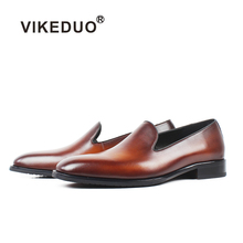 VIKEDUO 2019 Summer Fashion Mens Loafers Shoes Solid Brown Male Genuine Leather Footwear Casual Handmade Office Zapatos Hombre