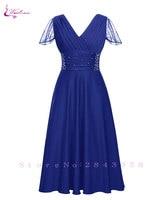 Waulizane Elegant Short Sleeve A Line Prom Dresses Zipper Closure Chiffon Formal Dresses 16 colors Available Customs Made