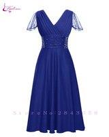 Waulizane Elegant Short Sleeve A Line Prom Dresses Zipper Closure Chiffon Formal Dresses 16 Colors Available