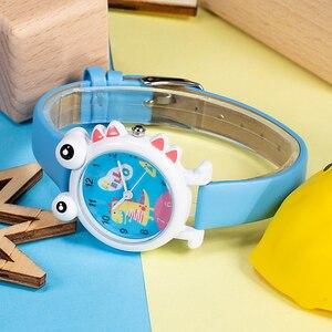 Image 4 - KDM Lovely Cartoon Dinosaur Children Watch Cute Kids Boys Waterproof Watches Genuine Leather Kid Wristwatch Students Clock