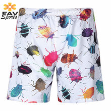 2018 New Mens Shorts Surf Board Beach Shorts Summer Sport Beach Swim Brief Creative Insect 3D Printing Quick Dry Boardshorts(China)