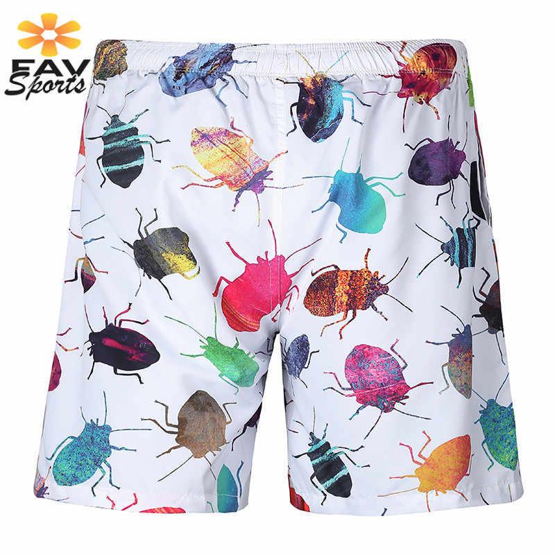 Новинка 2018, мужские шорты, пляжные шорты для серфинга, летние спортивные пляжные шорты для плавания, креативные быстросохнущие пляжные шорты с 3D принтом насекомых