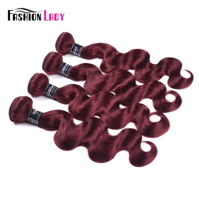 Mechones de pelo humano rojo de onda de cuerpo malayo precoloreado de mujer, mechones 99j 3 piezas no Remy