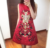 2017 Spring Summer Runway Collection Designer Beading Red Luxury Jacquard Mini Dress Haute Couture S XL