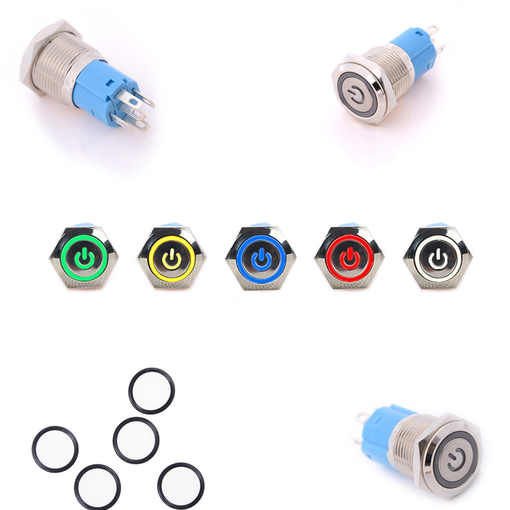 1PCS 16mm Hole 12V LED Metallic Car Angle Eye Power Push Button Switch Latching Type Button