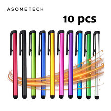 10 Pçs/lote Capacitive Touch Screen Stylus Pen Para IPad Air Mini Para Samsung iphone xiaomi Universal Tablet PC Telefone Inteligente Lápis(China)