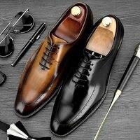 Демисезонный круглый носок человек Представительская обувь Винтаж Броги из натуральной кожи обувь Для мужчин резные Свадебная вечеринка о