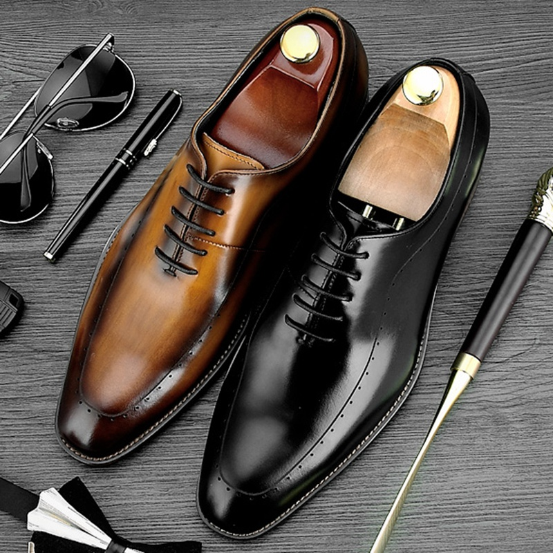 Spring Autumn Round Toe Man Formal Dress Shoes Vintage Genuine Leather Brogue Footwear Men's Carved Wedding Party Oxfords NE30 luxury formal dress man carved brogue shoes genuine leather round toe men s oxfords handmade wedding party footwear js88