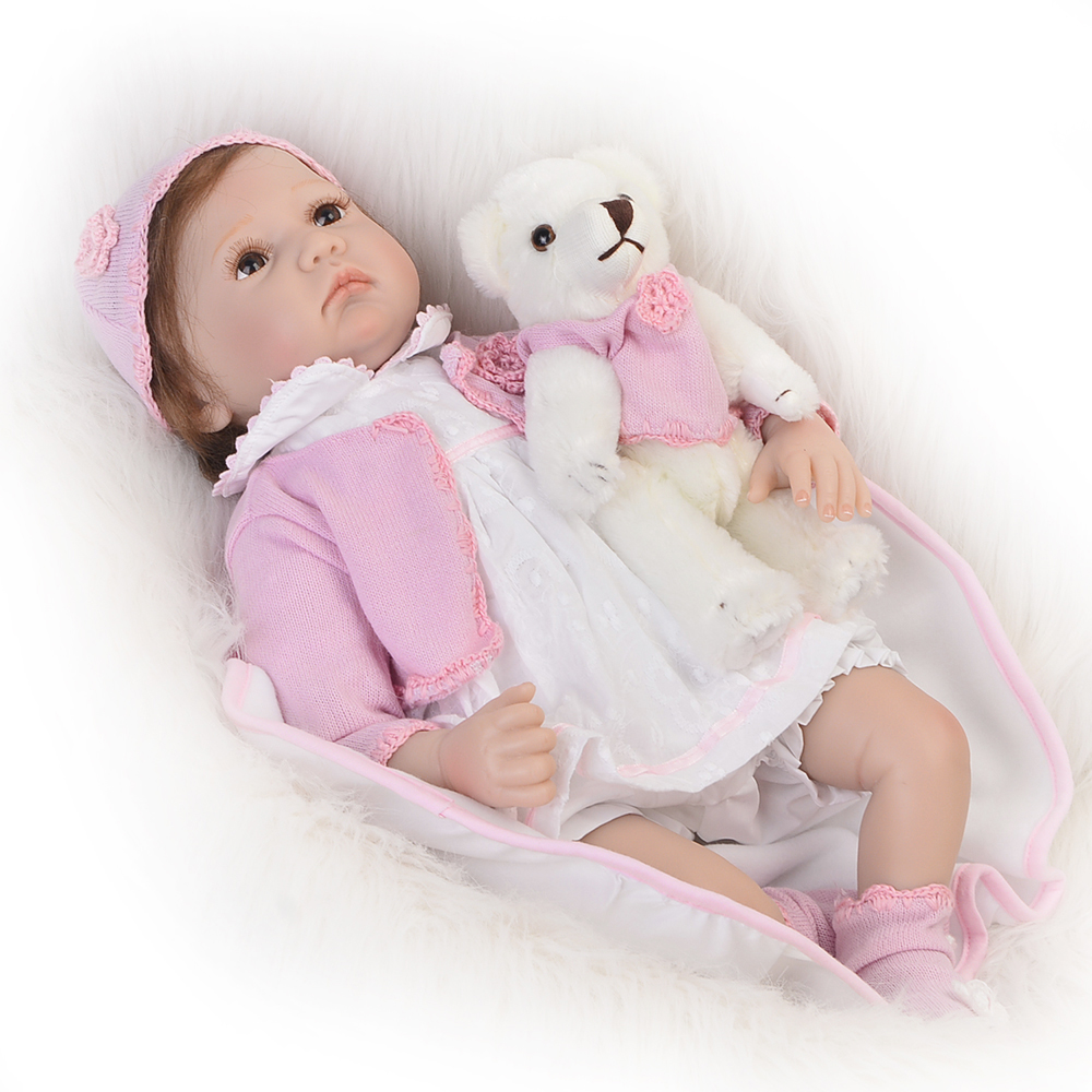 цена на Handmade 22'' Soft Silicone Reborn Baby Dolls Educational Toy For Girl Lifelike Princess Baby Dolls As kids Birthday Xmas Gifts