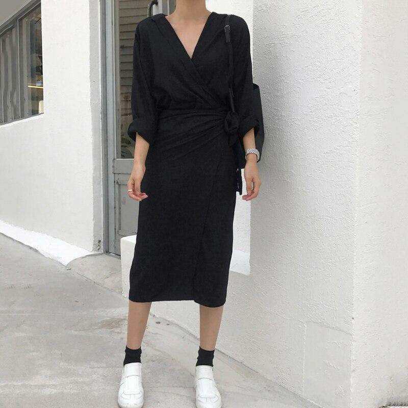 CHICEVER Bow Bandage Dresses For Women V Neck Long Sleeve High Waist Women's Dress Female Elegant Fashion Clothing New 19 4