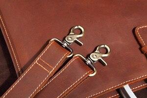 Image 3 - Haute qualité Vintage cheval fou en cuir Document sac mode Horizontal A4 hommes sac à main en cuir véritable mince mallette