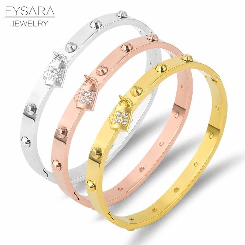 FYSARA Luxus Klassische Marke Gürtel Nagel Niet Armreifen & Armbänder Für Frauen Edelstahl Lock Kristalle Pulseiras Punk Schmuck